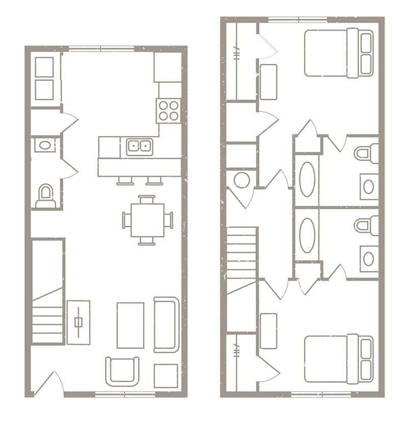 2 Bedroom & 2 ½ Bath Apartment Floorplans