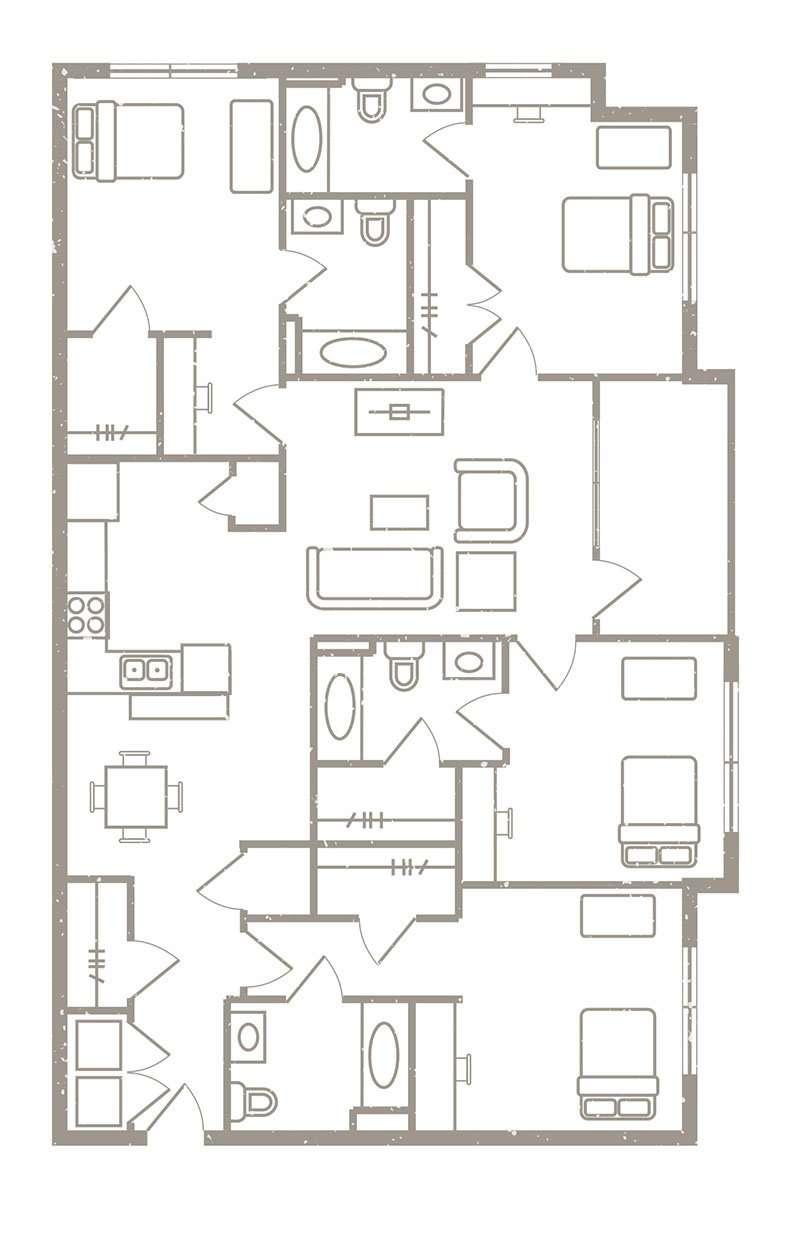 4 Bedroom & 4 Bath Apartment Floorplans